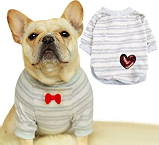French Bulldog Stripe Cotton Dog Shirts Pet Puppy T-Shirt Clothes Outfit Apparel Coats Tops (Large)