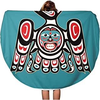 Semtomn 60 Inches Round Beach Towel Blanket Haida Eagle Native American Thunderbird Bird Tribal Pattern Indian Travel Circle Circular Towels Mat Tapestry Beach Throw