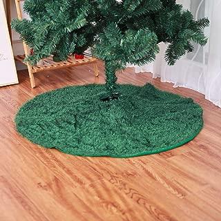 DotPet Christmas Tree Skirt, Xmas Santa Decorations Velvet Christmas Tree Skirt,30.7inch Round Luxury Faux Fur Tree Ornaments,Special for Christmas Holiday Festive Decor (Green)