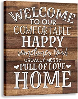 Kas Home Vintage Welcome Canvas Wall Art | Farmhouse Rustic Funny Family Prints Decorative Signs Framed | Wood Background Living Room Porch Wall Decor (15 x 12 inch, Welcome - 01)