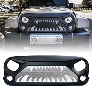 Xprite Front Grille Matte Black Grill Insert Mesh for 2007-2018 Jeep Rubicon Sahara Sport..