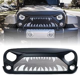 Xprite Front Grille Matte Black Grill Insert Mesh for 2007-2018 Jeep Rubicon Sahara Sport JK JKU (Monster Teeth Steel Mesh)