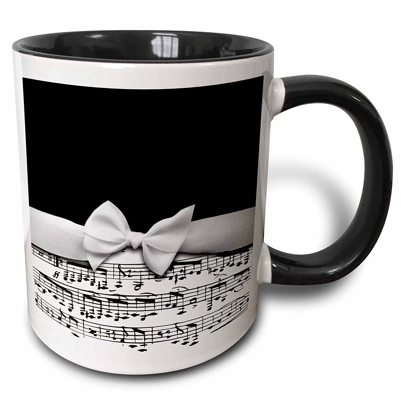 Buy 3drose Mug 123130 4 Stylish Musical Notes Faux Ribbon Bow Black White Sheet Music Elegant Design Two Tone Black Mug 11 Oz Black White Online At Low Prices In India Amazon In