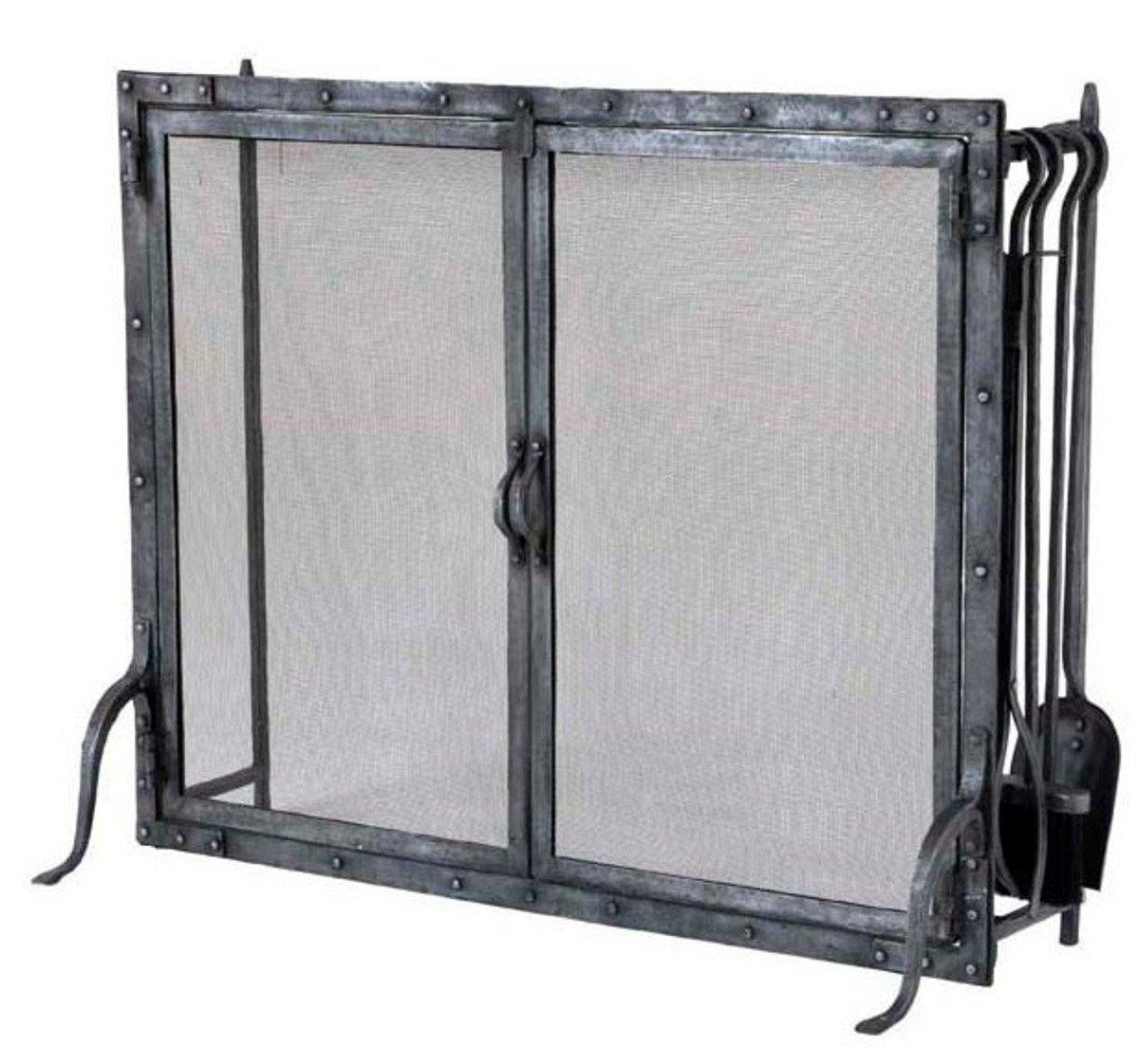 Casa Padrino Luxury Fireplace Fire Screen Stand with Fireplace Tools - Galvanized Metal - Pure Luxury!: Amazon.es: Hogar