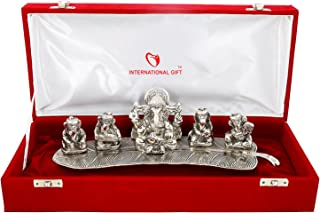 Silver Plated Musical Ganesha God Idol Statue Oxidized Silver Finish with Beautiful Red Velvet Box Packing (28 cm x 12 cm x 8 cm, Silver) Showpiece, Statue Decor Gift