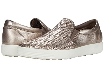 ECCO Soft 7 Woven Slip-On II (Stone Metallic Cow Leather) Women