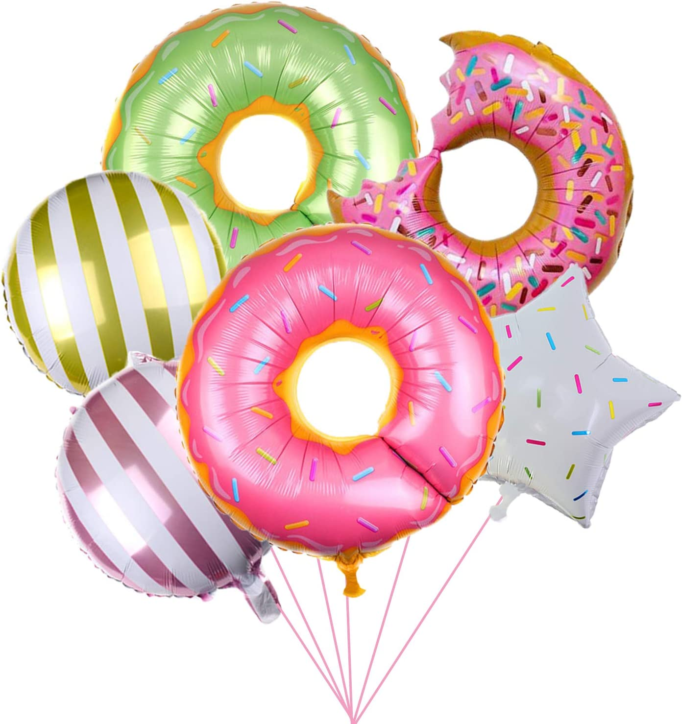 6 PCS Donut Foil Balloons - Sweet Donut Birthday Party/ Baby Shower/First Birthday Party/Class Party Supplies Decorations Favors Home Outdoor Kawaii Decor
