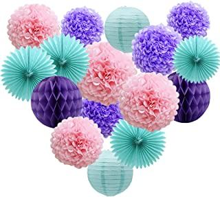 Teal Lavender Purple Pink Party Decorations 16pcs Paper Pom Poms Honeycomb Balls Blue Lanterns Tissue Fans for Wedding Birthday Baby Shower Frozen Party Supplies