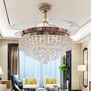 TiptonLight 42 Inch Gold Crystal Chandelier Ceiling Fan with Lights Retractable Blades Fan Decorative Fan Lamp in 3 Colors with Remote Control for Living Room Bedroom Restaurant with Remote Warm Light