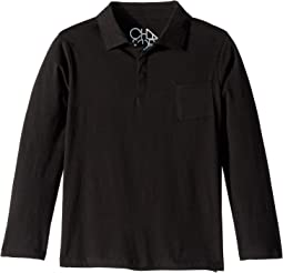Super Soft Long Sleeve Polo Tee with Front Pocket (Little Kids/Big Kids)