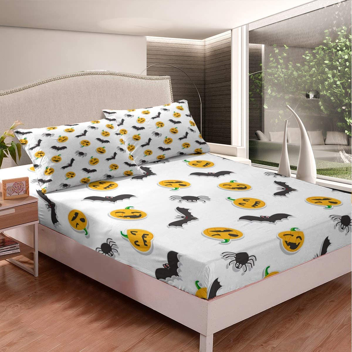 Palm Leaf Bedding Set for Kids Boys Girls Tropical Leaves Bed Sheet Set Botanical Pattern Fitted Sheet Nature Theme Bed Cover,Room Decor 3Pcs Sheets Double Size