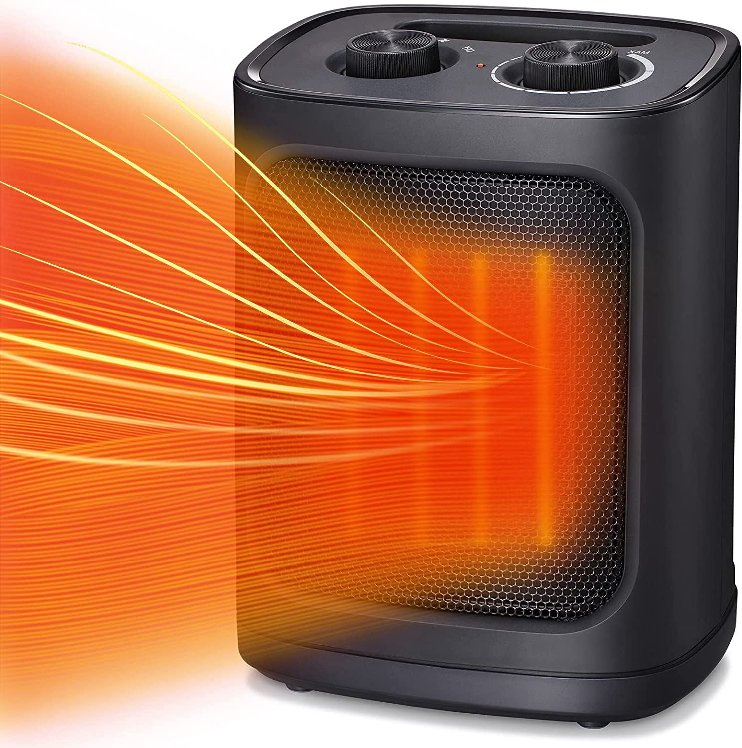 Kismile Portable Electric Space Heater, Small Ceramic Heater Fan with Thermostat, Tip-Over and Overheat Protection,Fast Heating for Home/Office,1500W