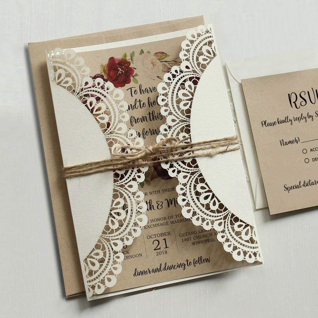 10, A5 double-sided Brown Kraft card Personalised kraft day//evening wedding invitations Rustic kraft lavender day or evening invitation FREE DRAFT /& FREE KRAFT ENVELOPES
