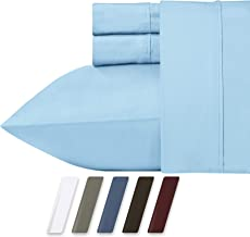 RV Short Queen Blue Sheets for Motorhomes & Camper Beds, 4-Piece 400 Thread Count Cotton Sheets, Long Staple Cotton Sateen Weave for Soft Silky Feel Fits Upto 18