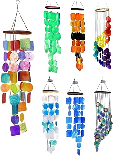 Bellaa 22890 Rainbow Wind Chimes Patio Lawn Garden Unique Wind Chimes Hanging Capiz Memorial Grace Handmade Chimes 27...