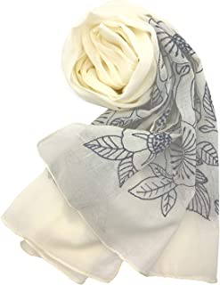 Confiance レディース ストール スカーフ コットン ボタニカル柄 刺繍 UVケア 乾燥対策 クーラー対策 プレゼント
