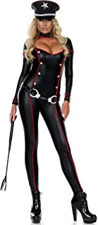 Women's Cutout Soldier Catsuit with Gold Buttons and Metallic