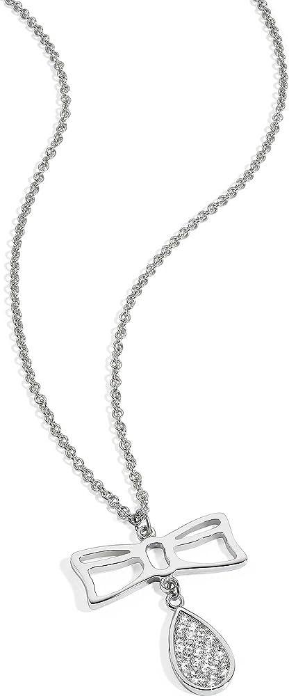 Morellato, collana con pendente  per donna ,in acciaio e cristalli SYS02
