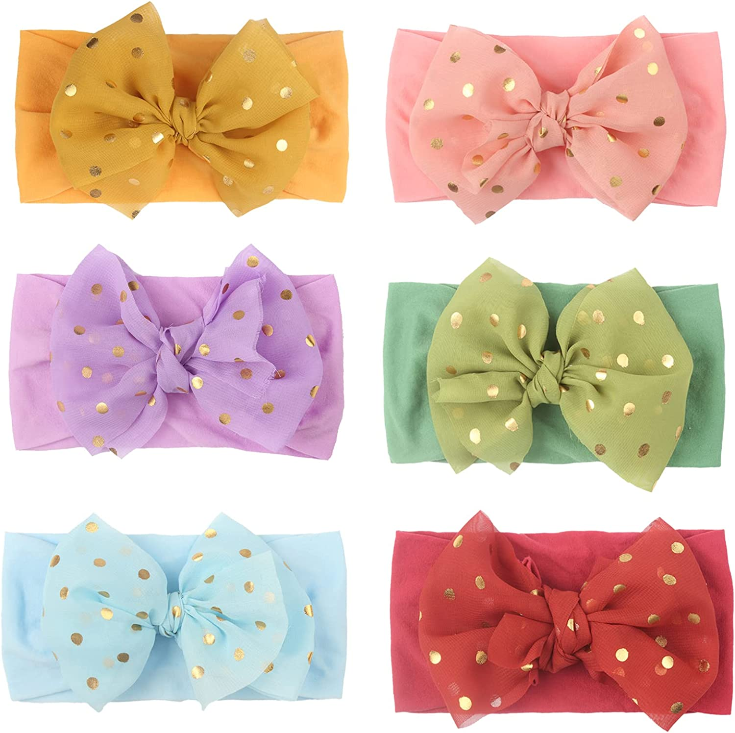 Yuyeran 6 Pack Baby Girl's Headbands with Chiffon Sequins Polka Dot Big Bow Head Bands Soft Headwraps Infant Caps