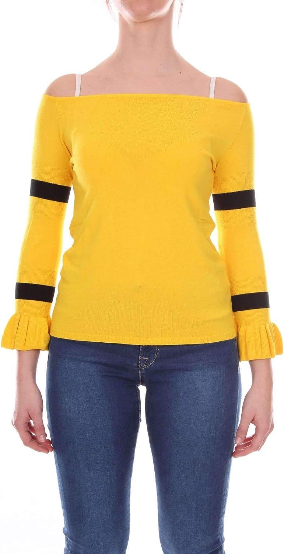 Akep Women's KE766YELLOW Yellow Viscose Jumper