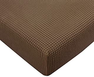 Subrtex Spandex Elastic Couch Stretch Loveseat Slipcover Furniture Protector Slip Covers for Settee Sofa Seat Home Living Room (Chair Cushion, Coffee)