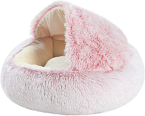 popular netuera Round discount Soft Bed wholesale Plush Self Warming Cushion Indoor for Cats & Dogs Half Covered Warm Donut-Shaped Washable (Small-Pink) sale