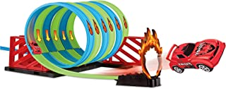 BAMGO Car Track Builder Playset - DIY Flexible Multi Layouts Slot/Race Car Set with Loops Great Indoor & Outdoor STEM Toy for Kids (Boys & Girls) | New Bendable Plastic Tracks, Instructions