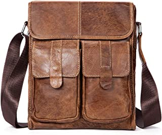 Mens Bag Retro Men's Shoulder Messenger Bag Casual First Layer Cowhide Europe And America Men's Bag Flip Men's Bag Leather Men's Bag High capacity