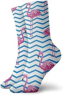 Be-ryl, Calcetines Deportivos Azul Flamingo Azul Blanco Wave Calcetines Deportivos Deportivos de Invierno Impresos en 3D 30cm de Largo