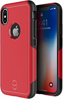 PATCHWORKS iPhone X Case, [Level Aegis] Hybrid Soft Inner TPU Hard PC Back Cover Military Grade Extreme Drop Tested with Added Corner Cushion Dual Layer Case for iPhone X / 10 - Red/Black