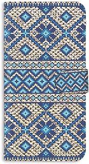 手帳型 ミラータイプ スマホケース LG isai vivid LGV32 用 [ノルディック柄・ブルー] 北欧柄 ニット風 エルジー イサイ ビビッド au スタンド スマホカバー 携帯カバー knitted 00r_169@02m