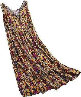 Dubocu Women Maxi Dress Sleeveless V Neck Vintage Print Boho Summer Loose Swing Casual Party Evening Gown Beach Dress