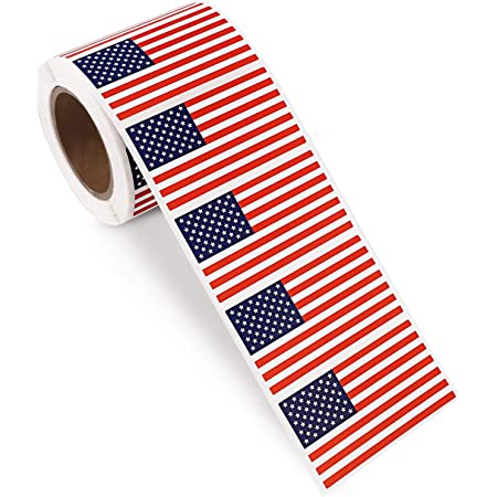 500 Per Roll 1.25 X 2.125 Patriotic Labels by Kenco 1 Pack American Flag Stickers USA Flags
