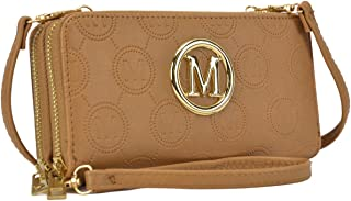 Women Small Crossbody Bag Cellphone Purse Soft Quilted Emblem Double Layer Zip Around Wallet w/Shoulder and Wristlet Strap (1083-Dark Beige)