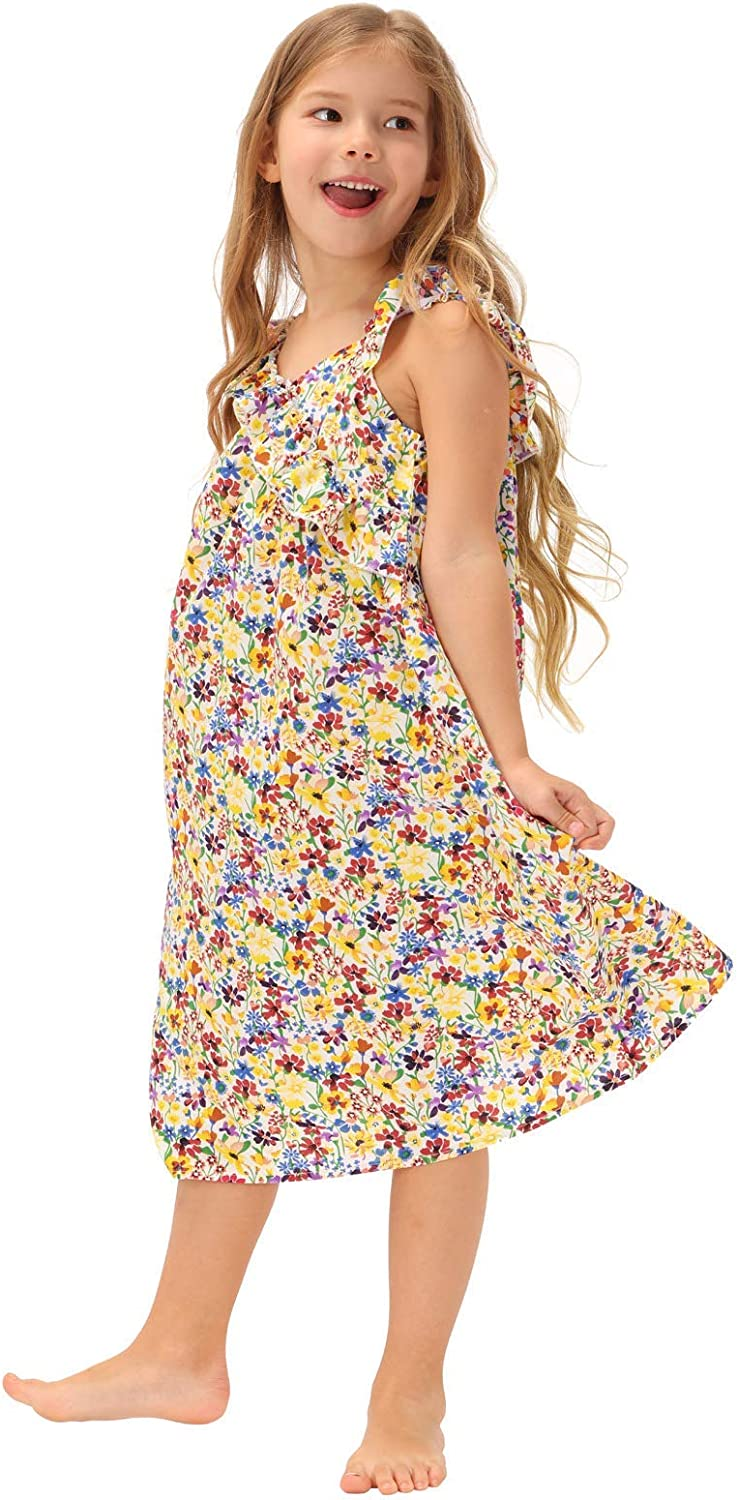 Zexxxy Cute Girl's Summer Dresses, Sleeveless Floral Printed A-line Cotton Playwear Dresses for 3Y-7Y Kids