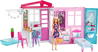 Barbie Casa portátil con piscina, casa de muñecas (Mattel