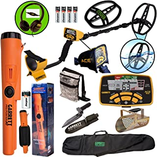 Garrett ACE 400 Metal Detector with DD Waterproof Coil, Propointer AT Pinpointer, Metal Scoop, Camo Pouch, Edge Digger and 50