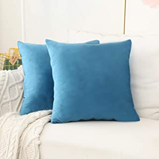 Home Brilliant 2 Pack Velvet Throw Pillow Covers Set Accent Cushion Covers Square Decorative Pillowcases Set, 18x18 inch(45x45cm), Turquoise