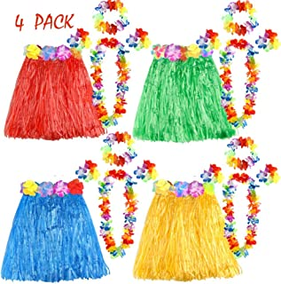 FEPITO 4 Set 20 Stück Hawaiian Gras Hula Röcke mit Blume Leis Halskette Stirnband Armbänder Luau Röcke Set Hawaii Kostüm für Kinder Mädchen Tropical Luau Birthday Party Favors Taschen Supplies