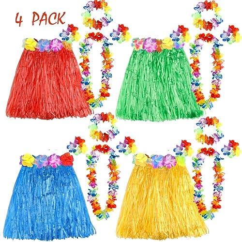 0da07dfe2ce2 FEPITO 4 Set 20 Pcs Hawaiian Grass Hula Skirts with Flower Leis Necklace  Headband Bracelets Luau