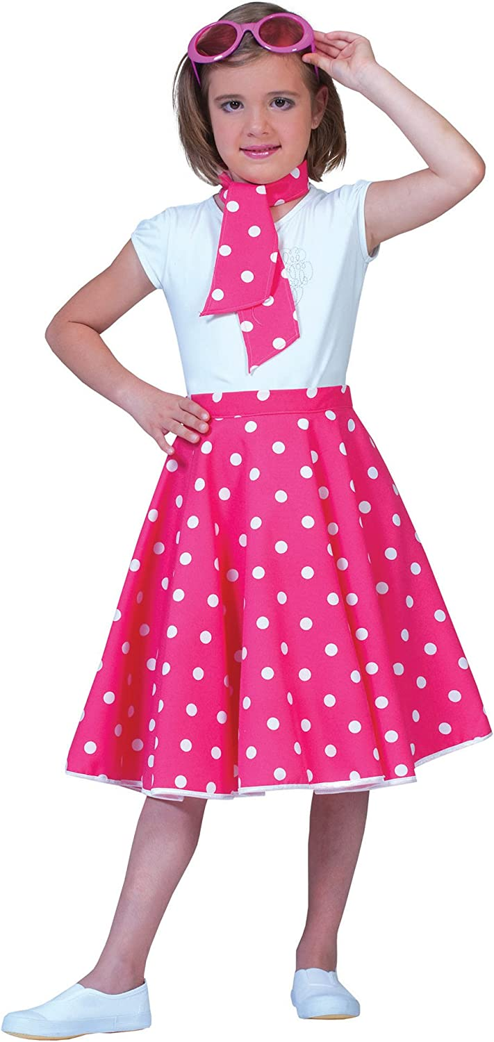 FUNNY FASHION Pink and White Sock Hop Skirt Costume for Kids