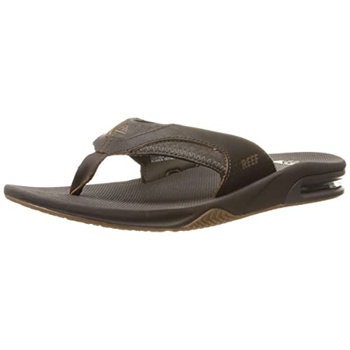 ed2bc3077 Reef Men s Leather Fanning Flip Flops
