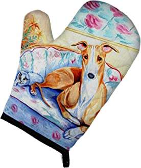 Large Multicolor Carolines Treasures Whippet Hearts Love and Valentines Day Portrait Glass Cutting Board