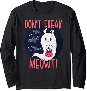 DON'T FREAK MEOWT! Paranormal Halloween Cat Meme Gift Long Sleeve T-Shirt