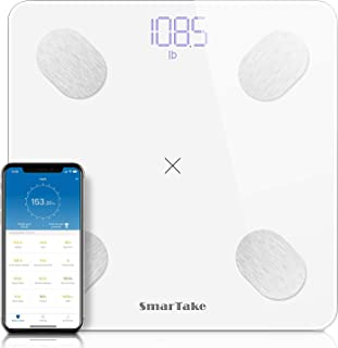 Bluetooth Body Fat Scale [Upgraded], SMARTAKE 11.8 x 11.8 Inches Digital Weight Scale, Large Platform Precision BMI Scale with Smart App, Body Composition Scale with 13 Key Data, White