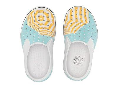 Native Kids Shoes Miles Print (Toddler/Little Kid) (Shell White/Shell White/Piedmont Blue/Beanie Umbrella) Girls Shoes