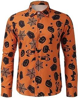 Men's Autumn Casual Long Sleeve Halloween Printed Shirt Blouse Tops Pullover T-Shirt (S-3XL)