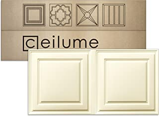 Ceilume 12 pc Stratford Ultra-Thin Feather-Light 2x4 Lay in Ceiling Tiles - for Use in 1