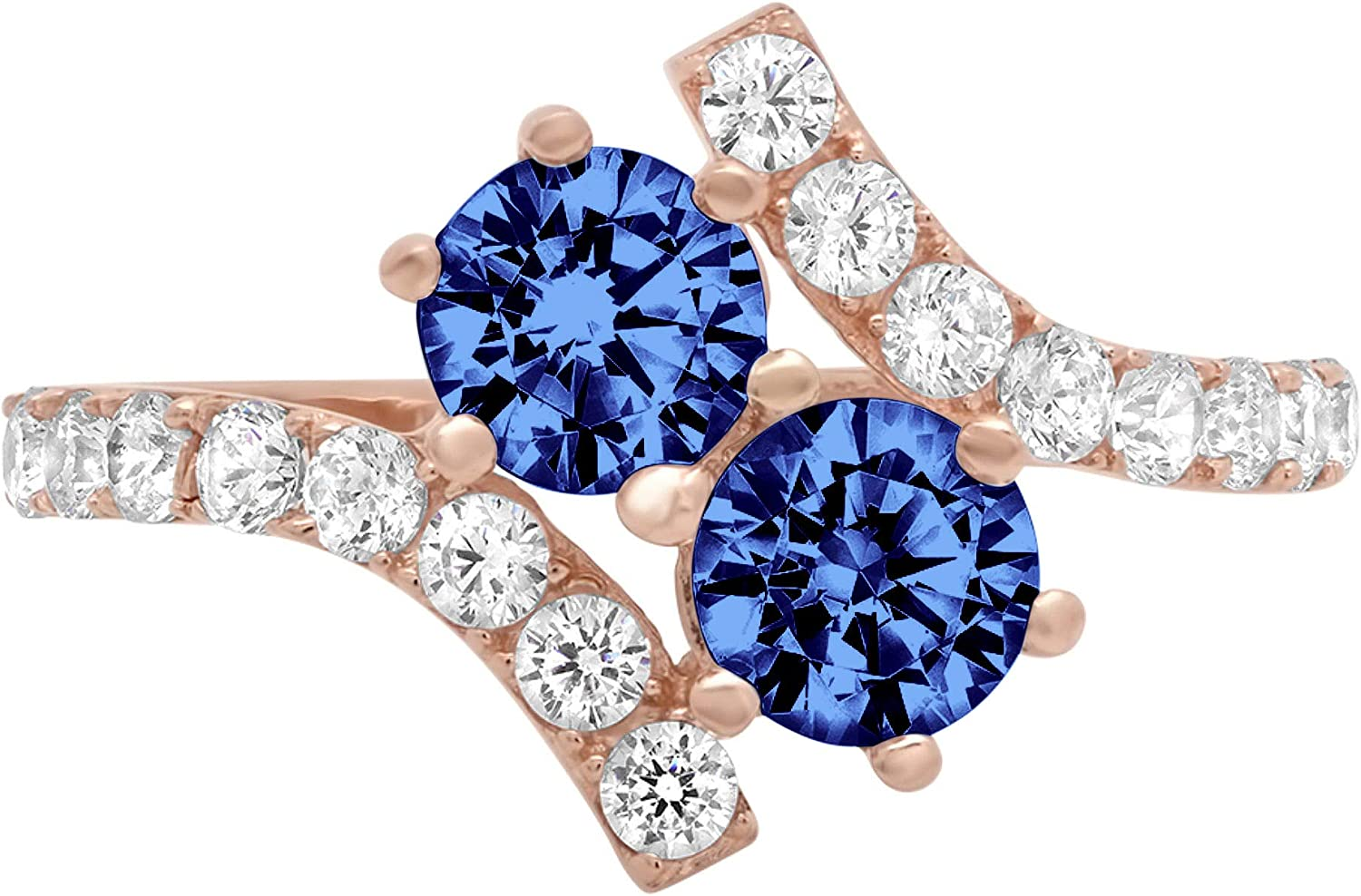 1.98 ct Round Cut 2 stone love Solitaire Genuine Flawless Simulated Tanzanite Gemstone Engagement Promise Statement Anniversary Bridal Wedding Accent Ring Solid 18K Rose Gold