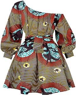 Women's Boho African Floral Print Pleated Short Midi Dress Multi-Way Dress Casual